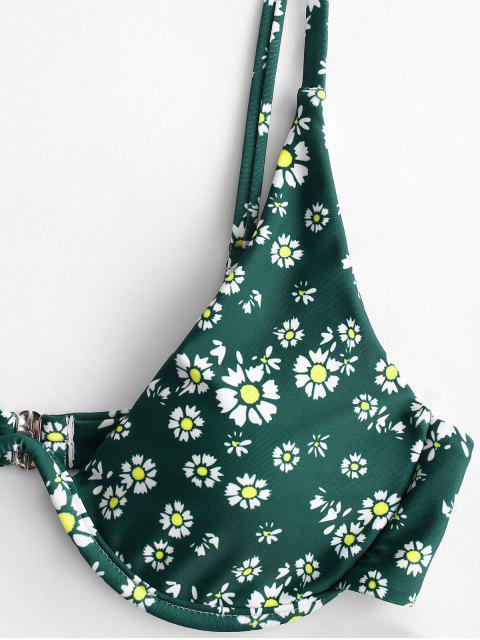 ZAFUL Daisydruck- Bügel- Bikini -Badeanzug mit Hohem Bein - Mittleres Meer Grün S Mobile