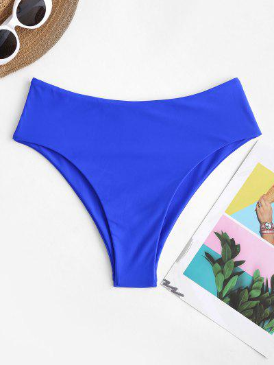 ZAFUL High Waisted High Leg Plain Bikini Bottom - Blueberry Blue L