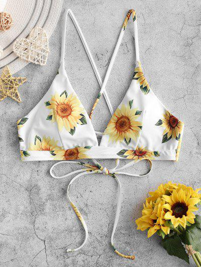 ZAFUL Crisscross Lace-up Sunflower Bikini Top - White M