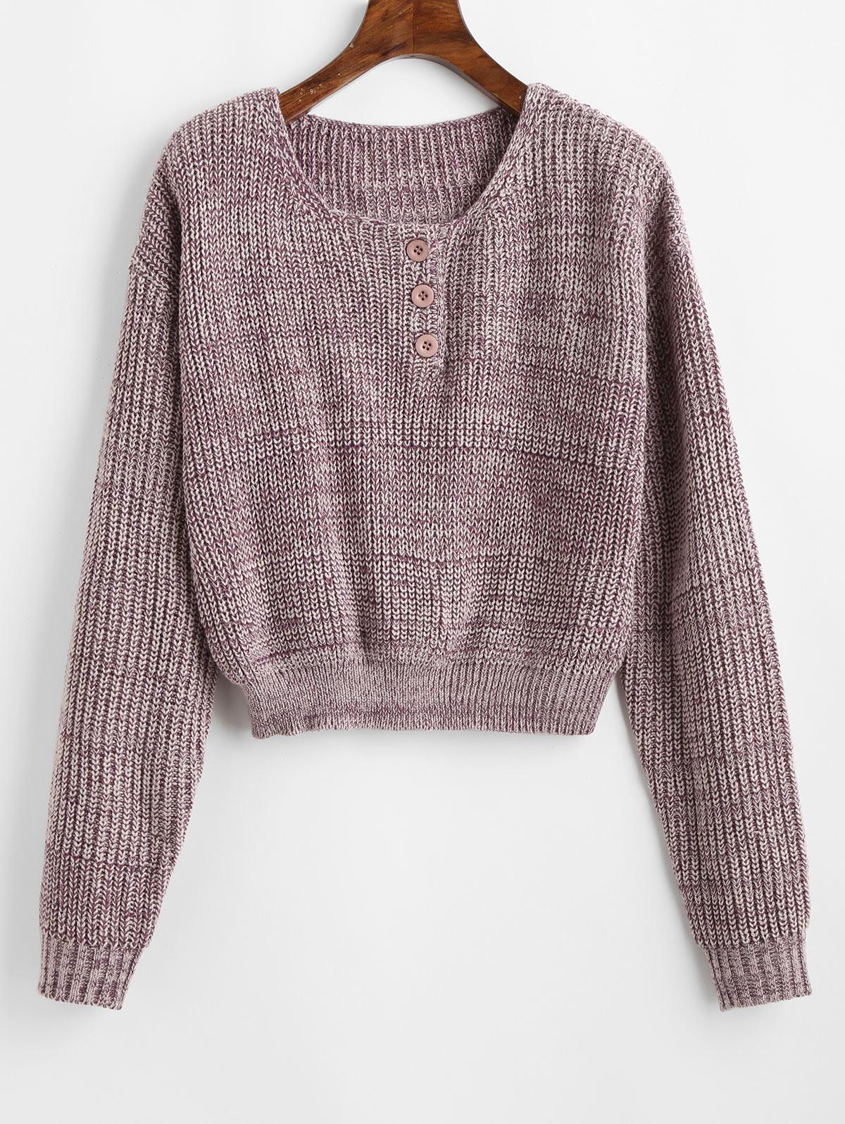 ZAFUL Pullover Half Buttoned Heathered Sweater, Wisteria purple