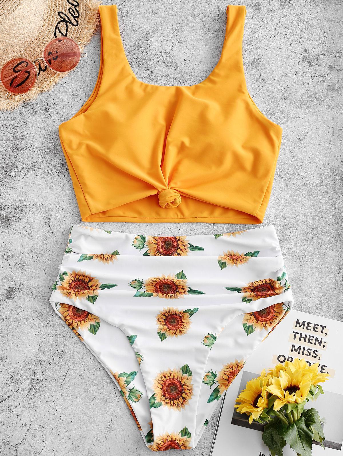 ZAFUL Knotted Hem Ruched Sunflower Tankini Swimsuit thumbnail