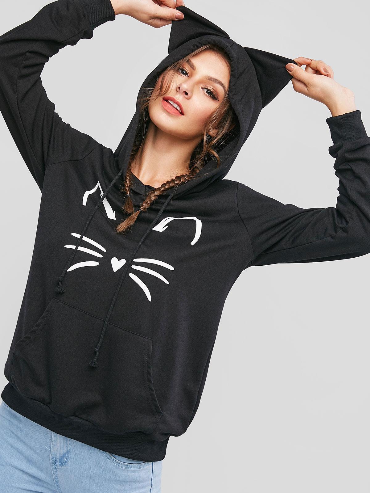 ZAFUL кенгуру карман толстовка с капюшоном с изображением кошки