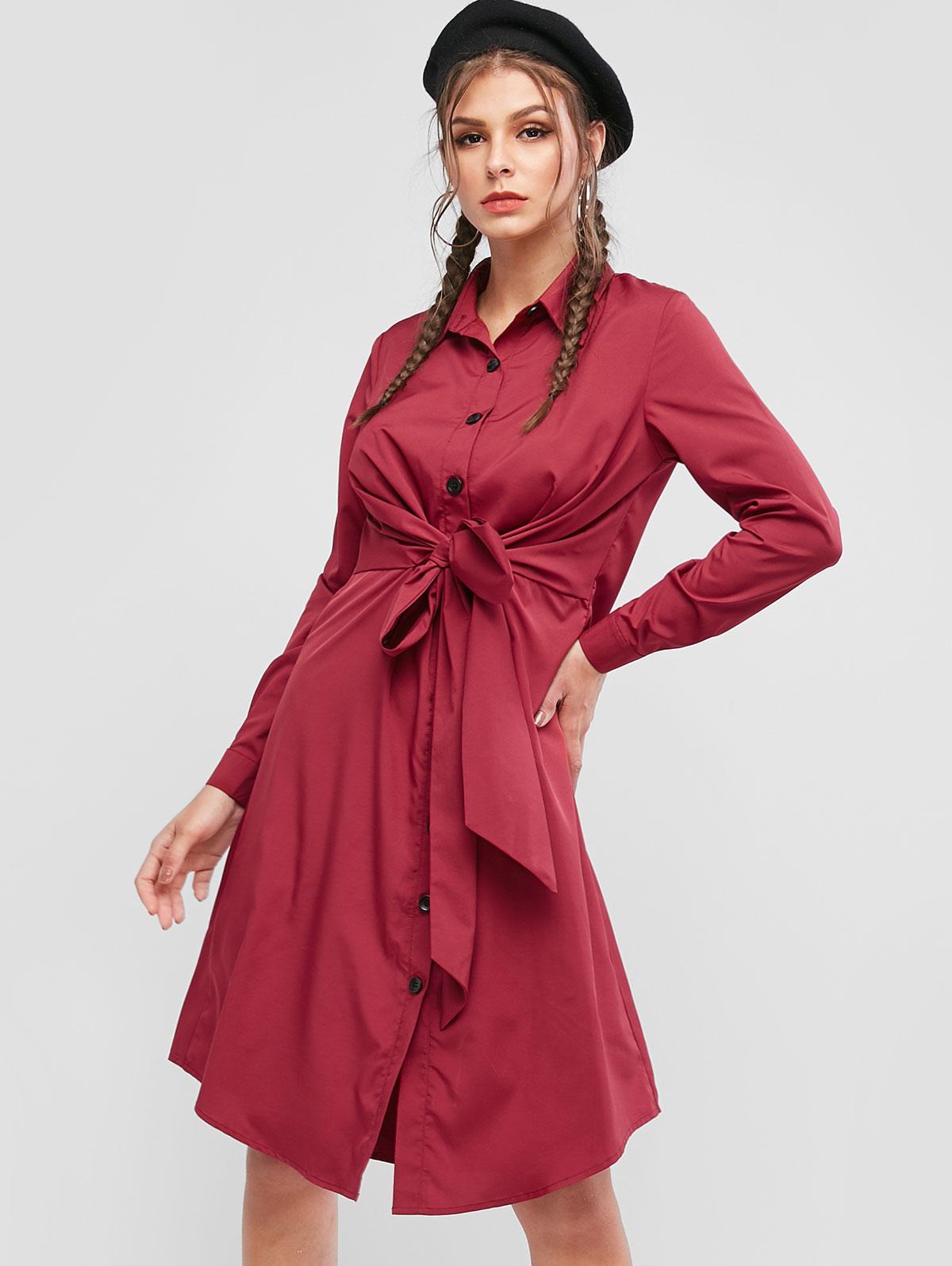 ZAFUL Button Up Tie Waist Long Sleeve Shirt Dress