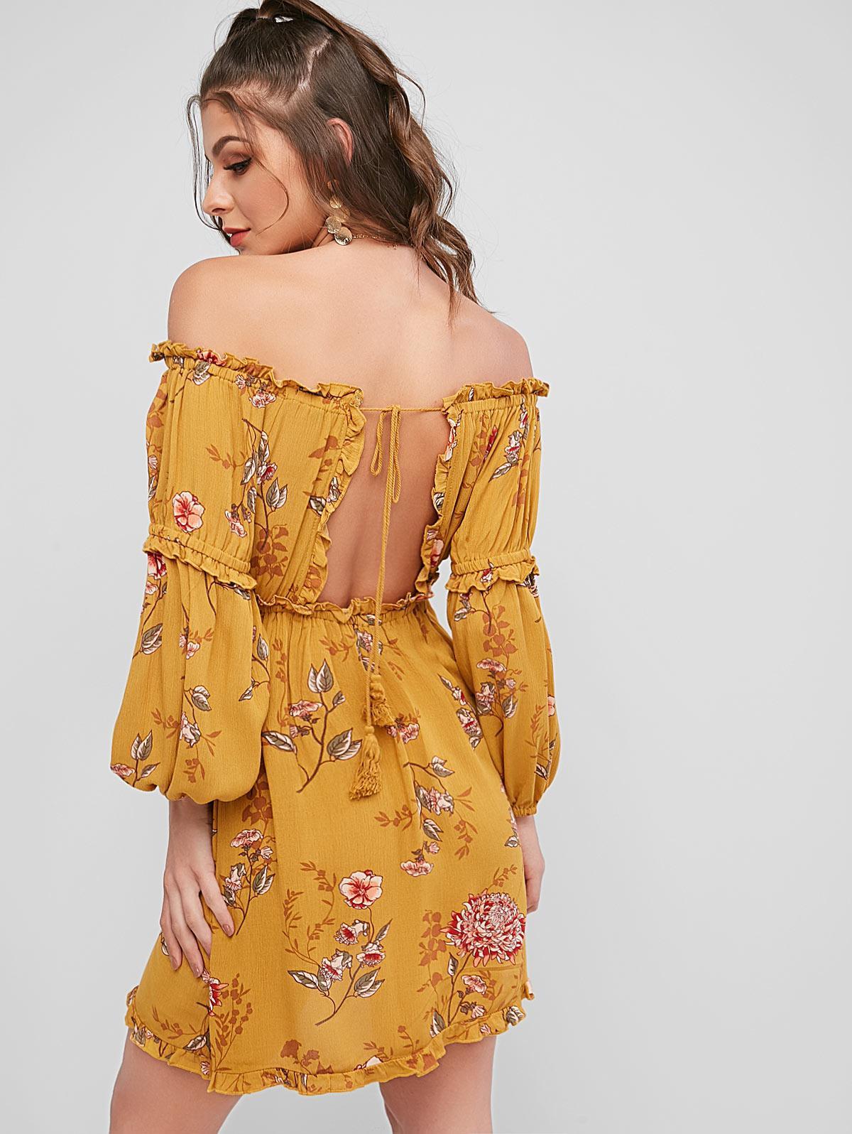 Tassels Tied Back Off Shoulder Floral Dress thumbnail