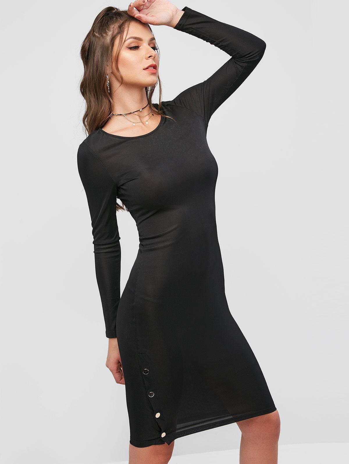 ZAFUL Long Sleeve Side Buttoned Ribbed Slit Dress