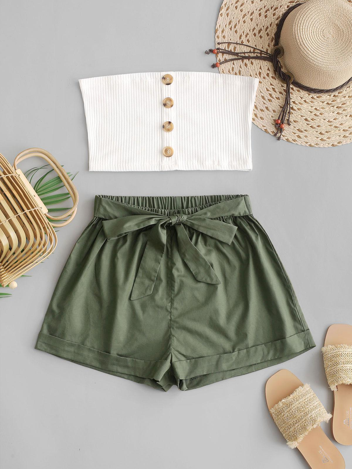 ZAFUL Two Piece Buttoned Ribbed Bandeau Top Set