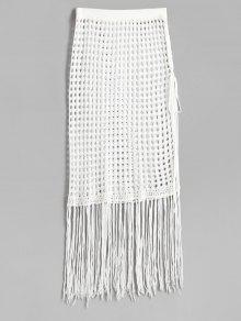 تنورة بشق جانبي - أبيض