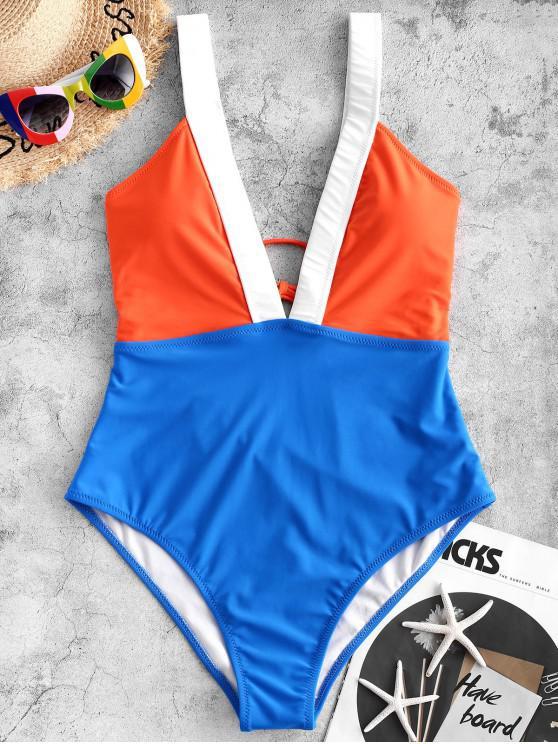 women's ZAFUL Plunge Color Block One-piece Swimsuit - OCEAN BLUE S