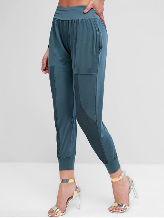 lady Sheer Mesh Insert Pockets Elastic Waist Leggings - BLUE GRAY S