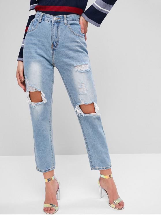 trendy Distressed Light Wash Boyfriend Jeans - JEANS BLUE L