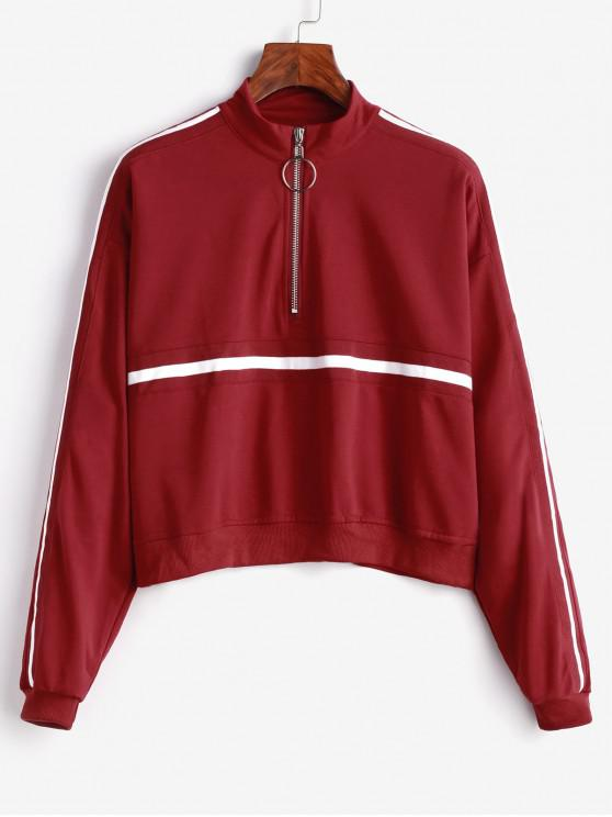 fancy Pull Ring Zip Tape Drop Shoulder Sweatshirt - RED WINE L