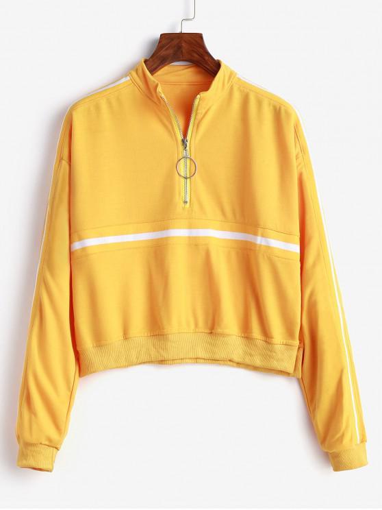 shop Pull Ring Zip Tape Drop Shoulder Sweatshirt - SUN YELLOW XL