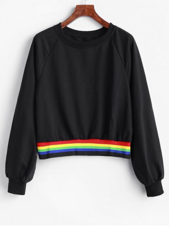 chic Rainbow Striped Raglan Sleeve Pullover Sweatshirt - BLACK S