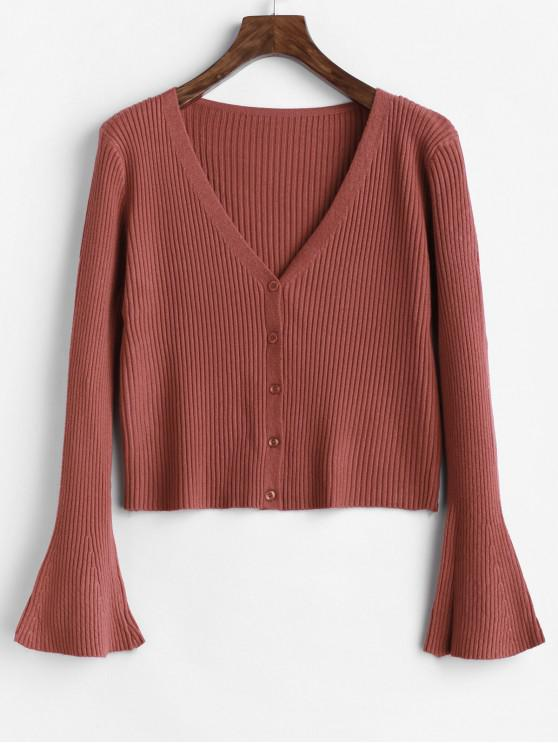 outfits Button Up Ribbed Flare Sleeve Cardigan - CHESTNUT ONE SIZE