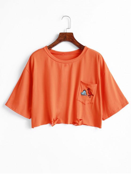 shops Front Pocket Cutout Dinosaur Embroidered Tee - ORANGE L