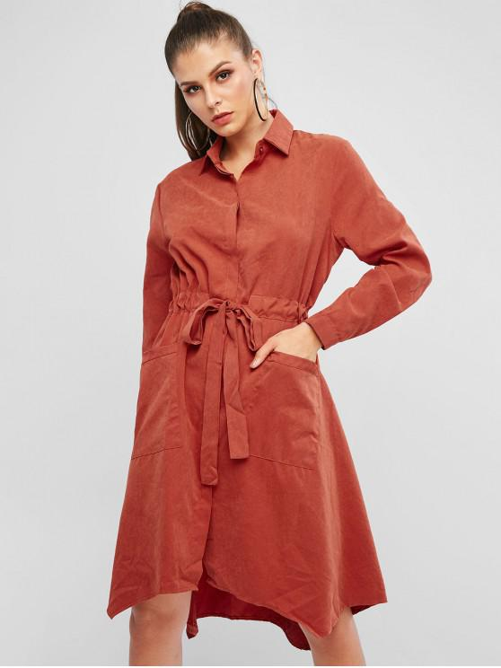 womens Long Sleeve Drawstring Pockets Shirt Dress - CHESTNUT RED L