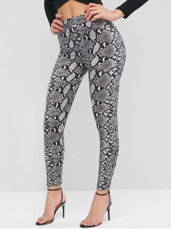 ladies Pull On Snake Print High Waisted Leggings - BLACK ONE SIZE