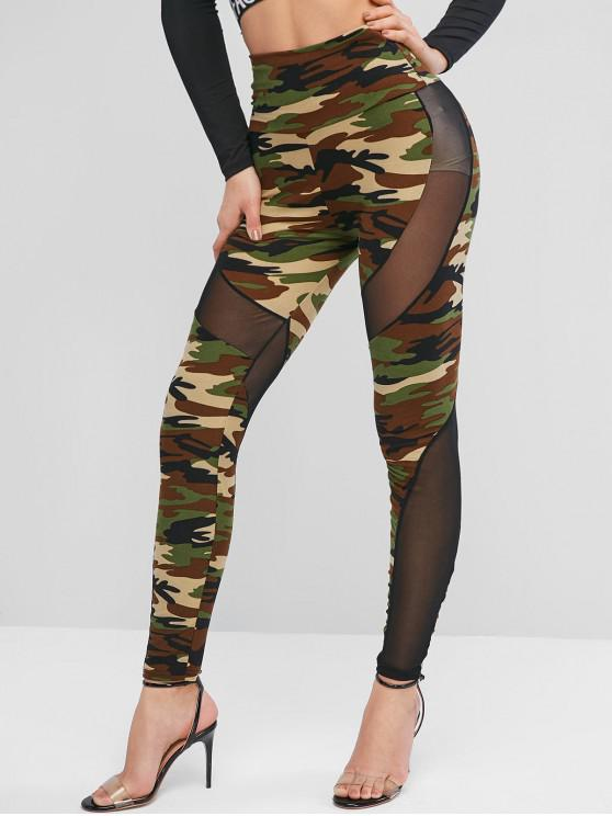latest High Waisted Mesh Panel Camouflage Leggings - CAMOUFLAGE GREEN ONE SIZE
