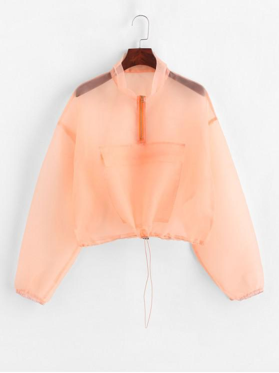online ZAFUL Half Zip Pocket Sheer Organza Sweatshirt - PUMPKIN ORANGE M