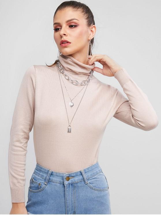 Jersey de cuello alto liso - Caqui Claro Talla única