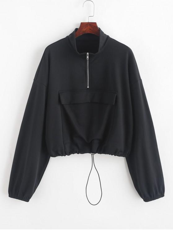 chic ZAFUL Half Zip Front Pocket Drawstring Sweatshirt - BLACK M