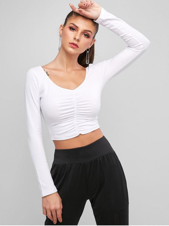 best Solid Gathered Front Cropped Tee - WHITE S
