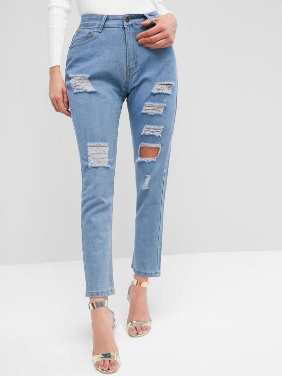lady High Waist Ripped Jeans with Pockets - JEANS BLUE S