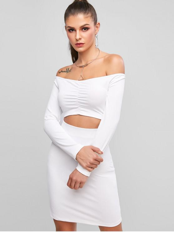 outfit Ribbed Cut Out Off Shoulder Mini Dress - WHITE S