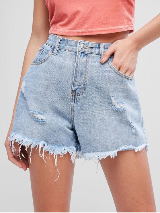 outfits Pocket Frayed Hem Ripped Denim Shorts - JEANS BLUE S