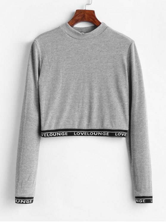 Camiseta de manga larga acanalada con cinta de letras - Gris Claro S