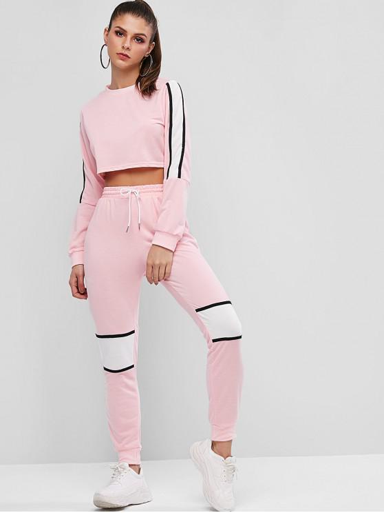 outfit Cropped Stripes Panel Color Block Two Piece Set - FLAMINGO PINK L