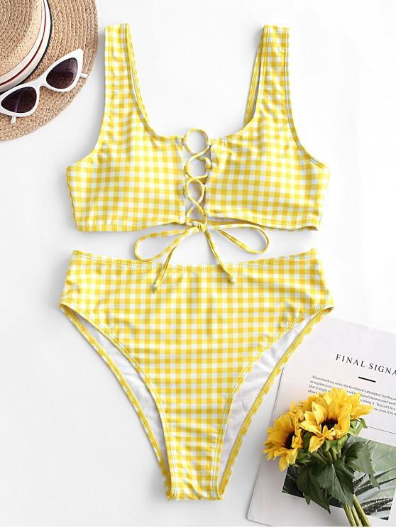 sale ZAFUL Plaid Lace-up High Waisted Bikini Swimsuit - CORN YELLOW L