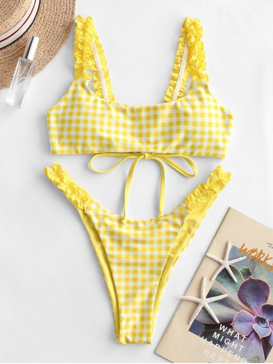 ZAFUL منقوشة منقوش قطب بعقب بيكيني ملابس السباحة - ذرة صفراء S