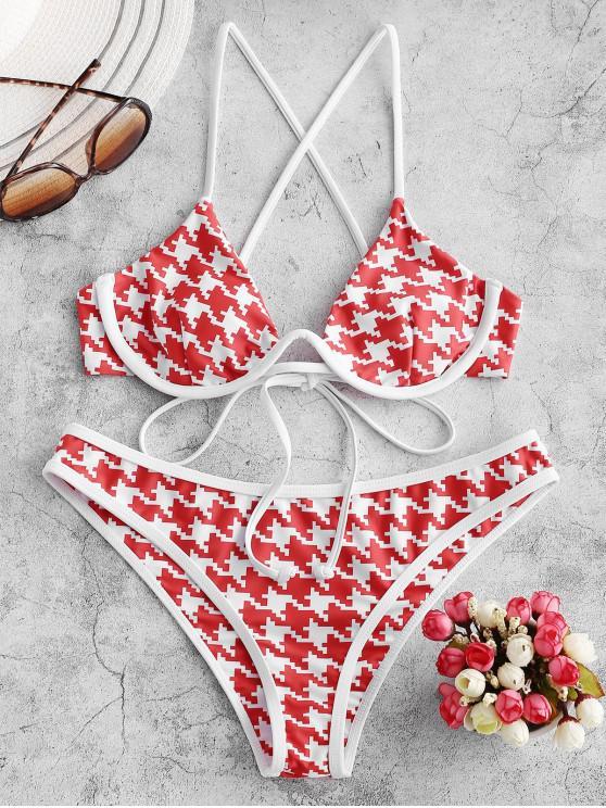 lady ZAFUL Houndstooth Push Up Cross Piping Bikini Swimsuit - MULTI-A S