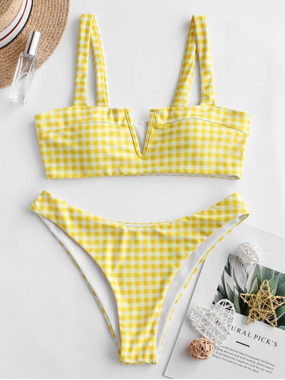 latest ZAFUL Plaid V-wired High Leg Bikini Swimsuit - CORN YELLOW S