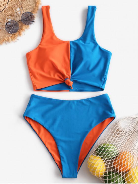unique ZAFUL Color Block Knot Reversible Tankini Swimsuit - OCEAN BLUE L