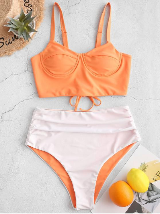 best ZAFUL Two Tone Lace Up Push Up High Waisted Tankini Swimsuit - SANDY BROWN L