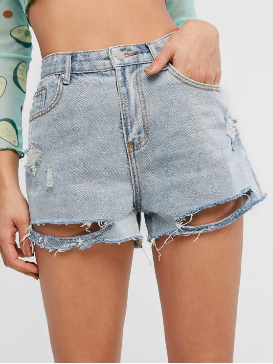 chic Cuff Off Ripped Jeans Shorts - JEANS BLUE L