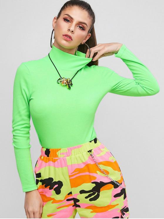 women's Neon Ribbed Mock Neck Slim Tee - GREEN S