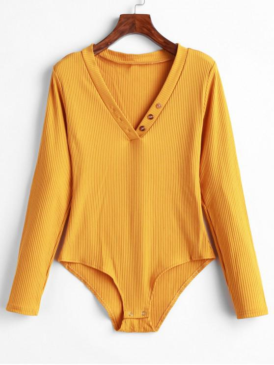 unique Ribbed Long Sleeve V Neck Bodysuit - BEE YELLOW S
