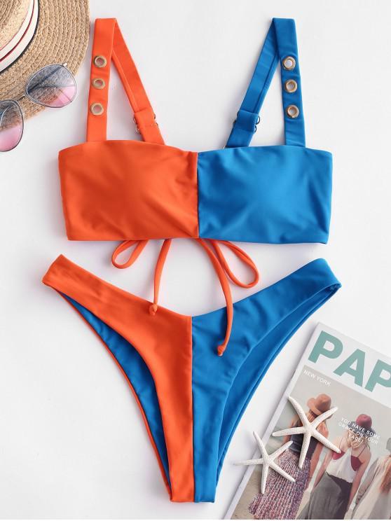 fancy ZAFUL Color Block Grommets High Leg Bikini Swimsuit - OCEAN BLUE M
