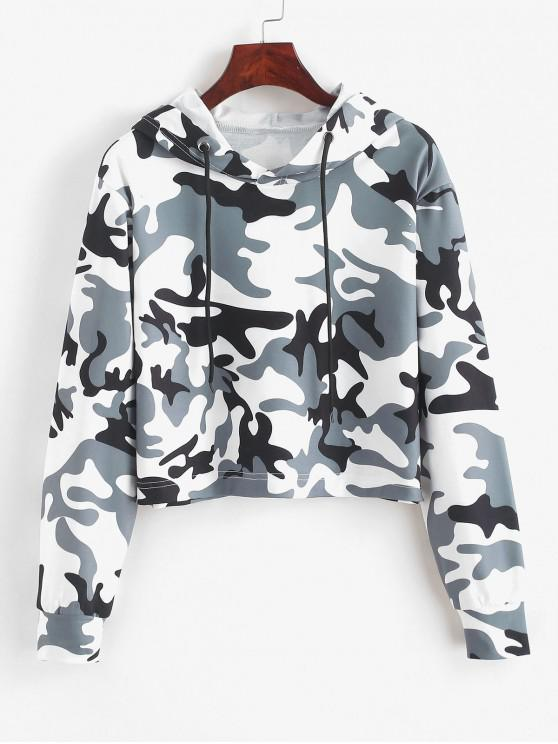 latest ZAFUL Camouflage Graphic Crop Drawstring Hoodie - MULTI S