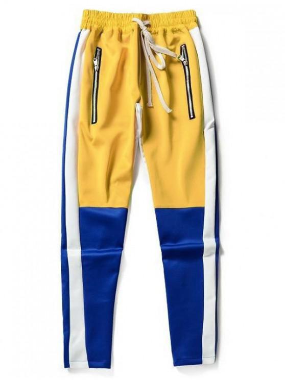 lady Color Block Splicing Zip Hem Long Sports Pants - BLUE M