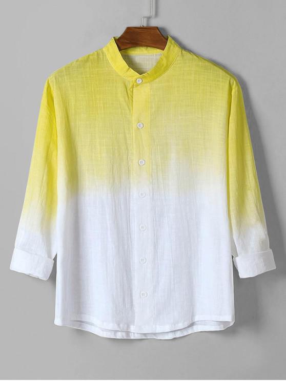 women's Ombre Print High Low Long Sleeve Basic Shirt - YELLOW L