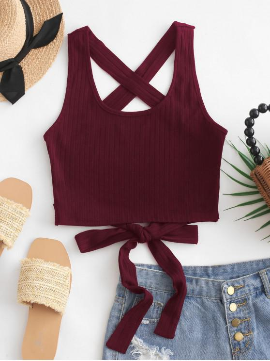 hot ZAFUL Criss Cross Tied Solid Tank Top - RED WINE S