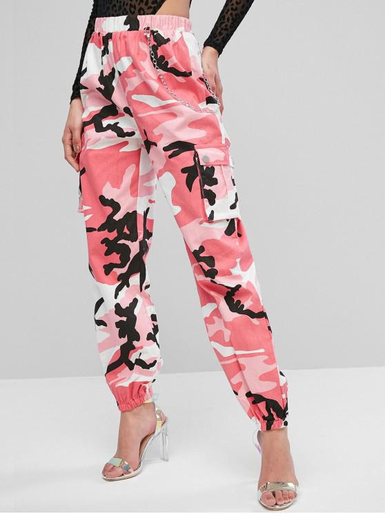 outfits Chain Flap Pockets Solid Jogger Pants - PINK XL