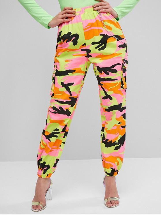 women Chain Flap Pockets Solid Jogger Pants - GREEN L