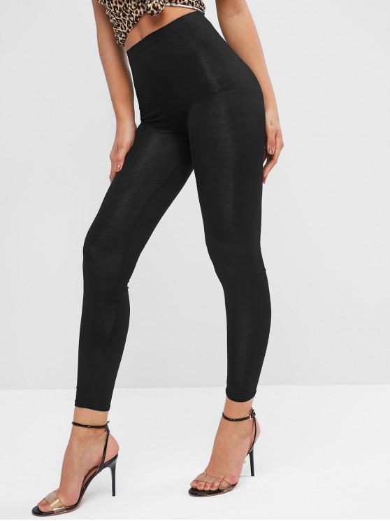buy High Waist Solid Skinny Leggings - BLACK ONE SIZE