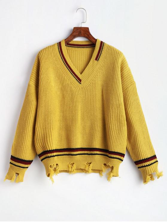 women Striped Ripped Sharkbite Trim Drop Shoulder Sweater - GINGER BROWN ONE SIZE