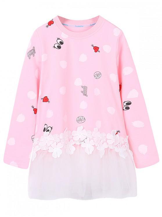 online Girls Lace Panel Mesh Hem Polka Dot Print T Shirt - PINK 150